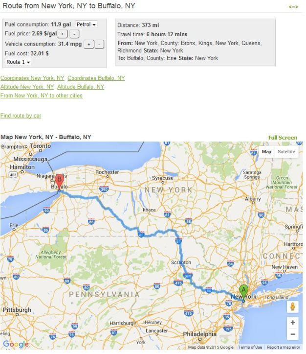 Route Finder in USA, Fuel cost estimator